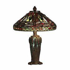 Dale Tiffany Dragonfly JEWEL Antique Bronze/verde Table Lamp W/ 2 Light 40w