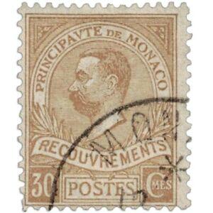 MONACO TIMBRE TAXE N°10 TYPE PRINCE ALBERT 1ER, TIMBRE OBLITÉRÉ-1910