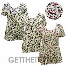 Womens Floral V Neck Short Sleeve Top Ladies Flower Print Flared Top Size 10-20