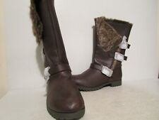 Qupid Womens Wyatte-54 Faux Leather Riding Boots Distressed Brown Sizes 6 - 10