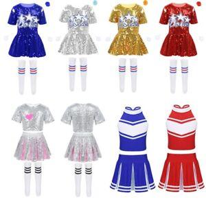 Girls Cheerleading Uniform Costume Fancy Dress Kids Sequins Outfits Dancewear