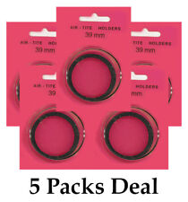 5 AirTite I39 BLACK Ring Capsules For 39mm Coins Crystal Clear Safe Storage