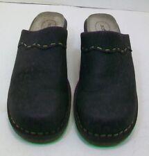 Women's Softspots Mules Black Leather Pattern Size 8.5 M Clogs Shoes