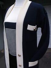 VTG Adreinne Vittadini NAVY wht 2 piece double knit 100% wool sweater Coat SET 8