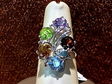 14k White gold Cocktail ring with genuine Amethyst,Peridot,topaz and Garnet.