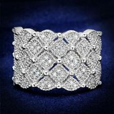 S546 PAVE REAL SIMULATED DIAMOND RING  STERLING SILVER WIDE COMFORT FIT BAND