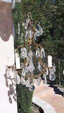 Superbe et ancien lustre cage en bronze et pampilles