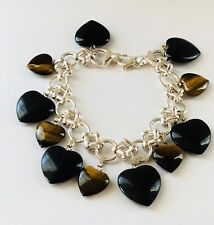 Signed 925 Onyx & Tigers Eye Heart Charms Sterling Silver Chain Link Bracelet