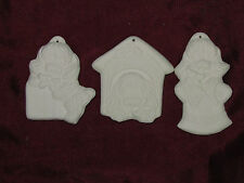 Ceramic Bisque Lot of 3 Puppy Dog Christmas Ornaments U Paint Ready to Paint
