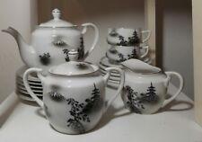 Vintage Kutani lithophane Japanese Moriage Dragonware 17 pc tea set tea pot cups