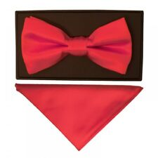 TiesRus Plain Coral Pink Hand Made Mens Bow Tie and Handkerchief Set Wedding Tie