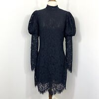 Ganni Everdale Lace Dress Black Puff Voluminous Long Sleeve Size 38 NWT