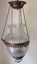 Antique Lg Ornate Etched Hanging Hall Oil Lamp Fixture Pull Down Brass Frame