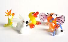 Collection 12. 5 Mini Figurine Glass Rabbit Figurine Duck Glass Parrot Owl Dog