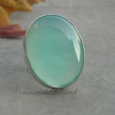 Aqua Chalcedony Silver Ring 925 Sterling Silver Handmade Rings Free Shipping