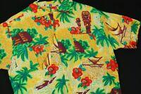 Vintage 60s Rayon Hawaiian Top Loop Shirt Yellow Palm Rockabilly Mod Mens M
