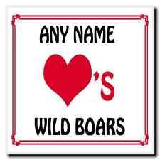 Love Heart Wild Boars Personalised Coaster