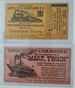 1957 Child Sante Fe & Disneyland R.R. Ticket plus Mark Twain Steamboat Ticket