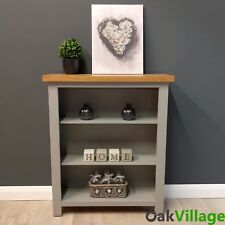 Grey Painted Small Oak Bookcase / Solid Wood Storage Shelves / Greymore