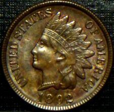 SCARCE 1892 INDIAN HEAD CENT FULL STRONG LIBERTY + 4 DEEP DIAMONDS RAINBOW TONED