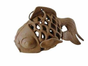 Brown Cast Iron Fish Candle Holder Goldfish Lamp Lantern Hanging outdoor koi