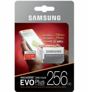 SD Card 100MB/s Original Samsung EVO Plus U3 256GB High Speed with Adapter