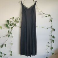 Vintage 60s-70s Black Maxi Slip Dress M-L Sheer Floral Lace Satin Goth Boho
