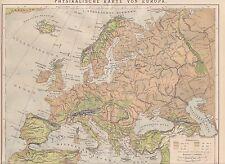 EUROPA Physikalische KARTE von 1883 Gebirge Flüsse Höhenzonen