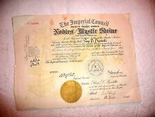 VINTAGE CERTIFICATE ANCIENT ARABIC ORDER NOBLES MYSTIC SHRINE AL KADER 1921