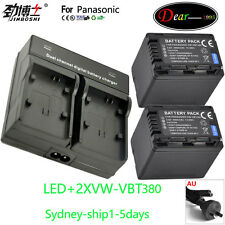 VW-VBT380 Battery+Charger For Panasonic VW-BC10E VW-VBT380 VBT380 VW-VBT190 AU