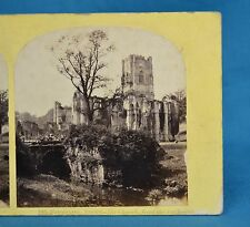 1850/60s Stereoview Photo Fountains Abbey Church From The SE Thomas Ogle & Edge