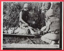1952 USMC Navy Corpsman Gives Blood Wounded Marine 7x9 Original News Telephoto