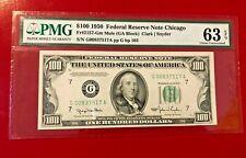 $100 1950 FEDERAL RESERVE NOTE CHICAGO FR#2157 GM MULE CLARK SNYDER PMG 63 EPQ