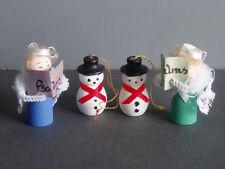 Wooden Mini Christmas Figures Angels Caroling Snowman HandMade Vintage Lot 4 Tag