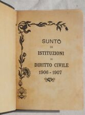 SUNTO ISTITUZIONI DIRITTO CIVILE UNIVERSITA ROMA ANNO 1906-1907 APPUNTI LEGGE