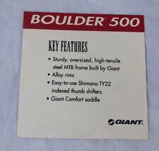 Giant Boulder 500 Bicycle Dealer Key Features Spec Card Bike Sheet