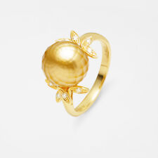 AAA Faceted Golden South Sea Saltwater Pearl Diamond Ring Solid 18K Yellow Gold