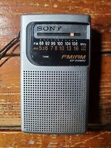 Sony ICF-S10MK2 Portable Pocket AM/FM Radio Silver Tested Working