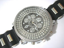 Iced Out Bling Bling Big Case Rubber Band Men's Watch Silver Black