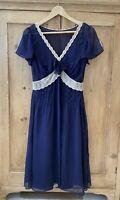 L.K BENNETT NAVY SILK AND LACE DRESS SIZE UK 12 US 8 Blue