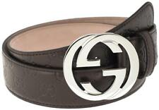 NEW GUCCI GUCCISSIMA BROWN LEATHER INTERLOCKING G PALLADIUM BUCKLE BELT 110/44