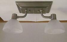 2 Arm 12 VOLT RV Trailer Brushed Nickel Finish Glass Ceiling Dinette Light Lamp