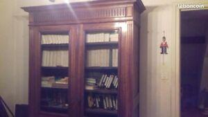 petite bibliothèque ancienne Louis XVI merisier massif