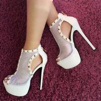 Fashion Stilettos Damen Abendschuhe Loch Sommer Plateau High Heels Pumps Sandals