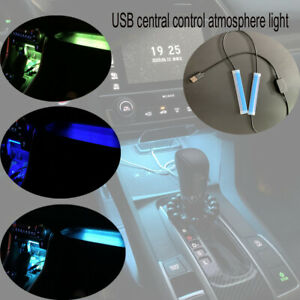 "1set 2"" USB Car LED Central Control Light Strip Interior Atmosphere Lamp Decor"