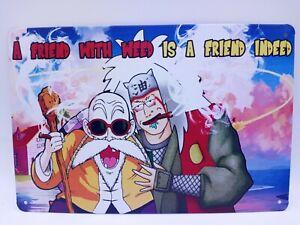 Master Roshi And Jiraiya Smoking Weed Tin Sign Wall Decor Funny Dragon Ball 8x12