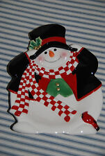 9 Inch Fitz and Floyd Snowman Plate - Winter Christmas Decoration