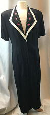 Vintage SL Fashions Long Maxi Dress Women's Size 16 Black Embroidered Rosebuds