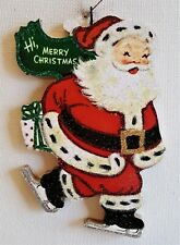 Santa Claus, Ice Skating w Gift, Green Scarf * Glitter Christmas Ornament * Vtg