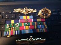 Navy Information Warfare Community -Surface Warfare -Command Badge+13 Ribbons